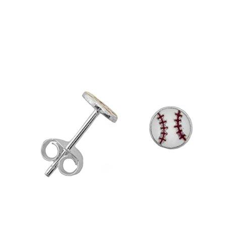 Sterling Silver Softball - Baseball Softball Post Stud Earrings Sterling Silver 5mm diameter