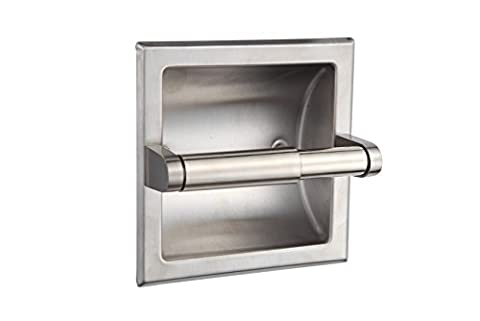 SMACK Brushed Nickel Recessed Toilet Paper Holder - Includes Rear Mounting Bracket - Nickel Recessed Toilet Paper Holder