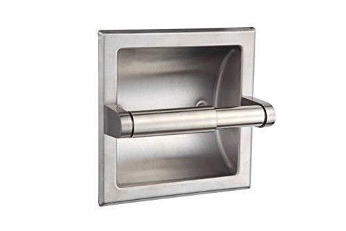 SMACK Brushed Nickel Recessed Toilet Paper Holder - Includes Rear Mounting - Nickel Toilet Paper Holder Recessed