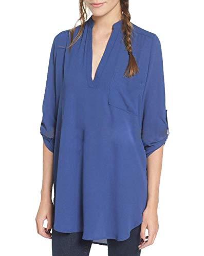 Haut Costume V Blau Automne Jeune Unie Mode Dsinvolte lgant Shirt Mode Tops Chemise Chic Printemps Blouse 4 Irregular Large 3 Couleur Femme Mousseline Manches Branch Tee Cou wfUFnIXqx