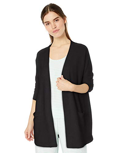 Amazon Essentials Women's Lightweight Lounge Terry Open-Front Cardigan , -black, X-Large