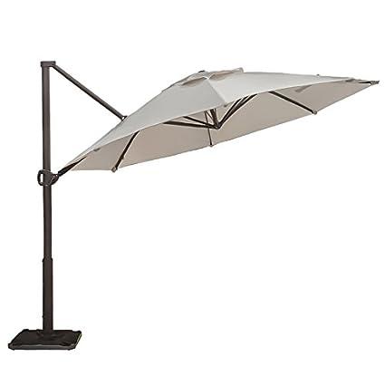abba patio offset cantilever umbrella 11 feet outdoor patio hanging umbrella with cross base - Abba Patio