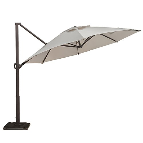 Abba Patio Offset Cantilever Umbrella 11-Feet Outdoor Patio Hanging Umbrella Cross Base, Beige