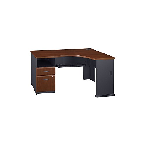 Bush Business Furniture Series A Single 2 Drawer Pedestal Corner Desk in Hansen Cherry
