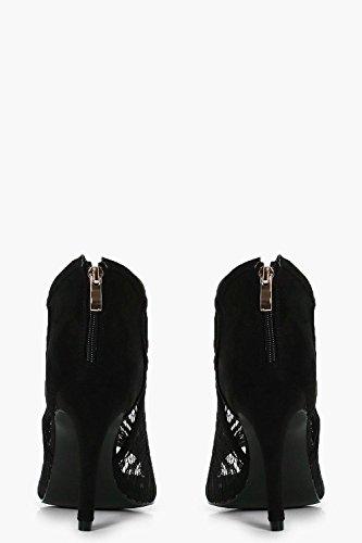 Boohoo Womens Lottie Peeptoe Lace Shoe Boot