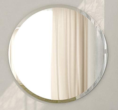 (Φ450mm) 円形ミラー 貼付けタイプ 飾り面取り付き/貼付け鏡 貼付け 円形鏡 円形 丸鏡 丸 鏡 ミラー 玄関鏡 枠無し鏡 姿見 シンプル鏡 家具 Z-450MH