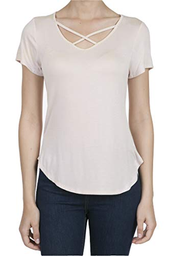 9003 Women's Casual Short Sleeve Solid Criss Cross V-Neck T-Shirt Tops Pale Dogwood S