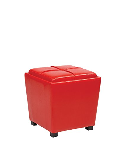 Office Star Metro Vinyl 2-Piece Storage Ottoman Nesting Cube Set with Dark Espresso Finished Feet, Crimson Red Metro Home Office