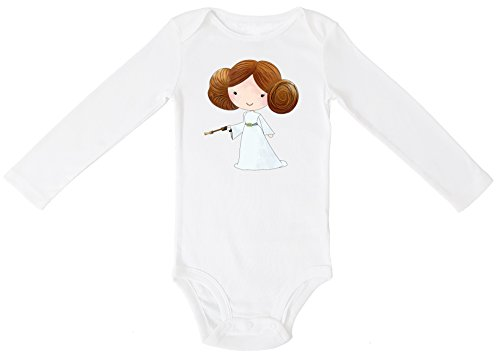 Baby Clothing Collection (Aribella Collection Baby Girls Infant Toddler Princess Leia Star Wars Inspired Bodysuit Size 9 Months Long Sleeve White Color)
