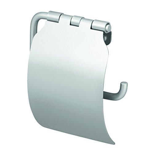 InterDesign Metro Rustproof Aluminum Toilet Paper Holder with Cover - Wall Mounted Roll Dispenser for Bathroom, Silver