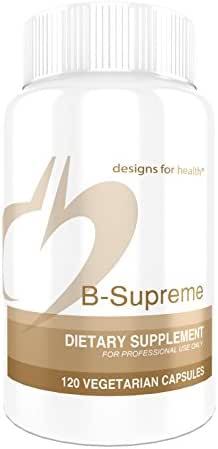 Designs for Health B-Supreme - B Vitamin Complex with B1, B2, B3, B6 + 12, Includes Active Folate, TMG + Choline (120 Capsules)