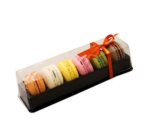 Clear and Black Base Plastic French Macarons Small Gift Boxes - Holds 6 Macarons - Cavity Size 1.76'' x 1''- Pack of 20 -