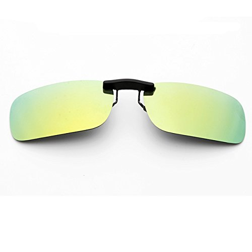 Clip-on Sunglasses Men's Titanium Flexible Polarized Lenses Glasses Laura Fairy(yellow green, - Green Yellow Sunglasses And
