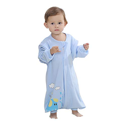 Feet Long Sleeve - EsTong Early Walker Baby Sleeping Bag with Feet 0.5 TOG Summer Sleepsack Toddler Detachable Long Sleeve Wearable Blanket Blue L