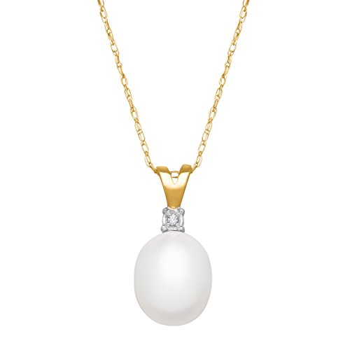 Freshwater Cultured Pearl Pendant Necklace with Diamond in 10K Yellow -