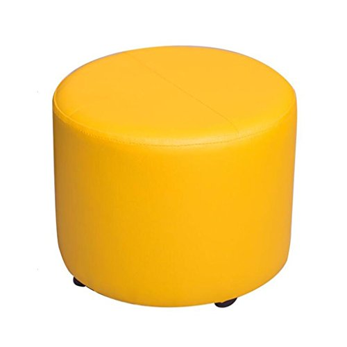 WZ Ottomans PU Upholstered Footstool Small Ottoman Luxury Round Pouffe 4 Legs Change Shoe Stool Five Colour (Color : Yellow)