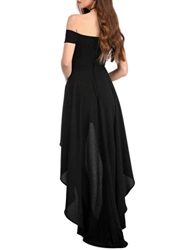 Sidefeel Women Off Shoulder High Low Maxi Party Dresses Large Black