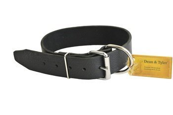 "Dean & Tyler ""B and B Black Basic Leather Dog Collar with Strong Nickel Hardware, Size 36-Inch by 2-3/4-Inch, Fits Neck 34-Inch to 38-Inch"