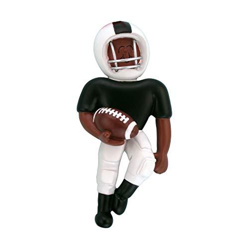 - Personalized Playing Football Boy Christmas Tree Ornament 2019 - African-American Team Athlete Helmet Run Score Profession Goal School Coach Black - Free Customization (White Uniform Ethnic)