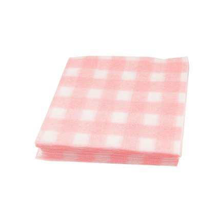 50 Pcs Disposable White Pink Checked Printing Plant Fabric Facial Towel