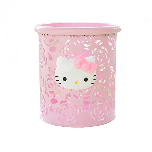 YOURNELO Cute Hello Kitty Hollow-Out Pen Pencil Holder Desk Organizer Accessories (Pink Rose)