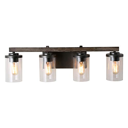 - LALUZ 4-Light Rustic Vanity Lighting Bathroom Wall Light with Clear Glass, Faux Wood, 30 Inches