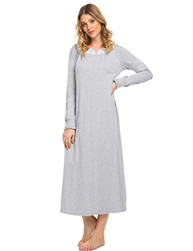 V-neck Duster (Ekouaer Women's Nightwear V-neck Lace Nightgown Long Sleep Dress Loungewear (Gray,XL))