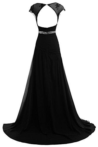Donna amp; Prom sera lungo ressing 44 nero del A Dress Fashion Chiffon abito abito partito linea ivyd tulle da cYwg51qg