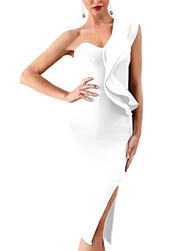 Whoinshop Women's One Shoulder Side Split Celebrity Cocktail Party Bandage Dress White L
