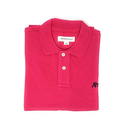 Aeropostale Men's Solid Uniform Logo Rugby Polo Shirt (Medium, Bright Pink)
