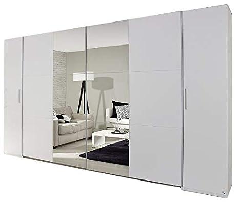 Dreh-/Schwebetürenschrank weiß 4-trg B 355 cm Jugend Schlafzimmer  Drehtürenschrank Kleiderschrank Wäscheschrank Spiegel Schiebetürenschrank