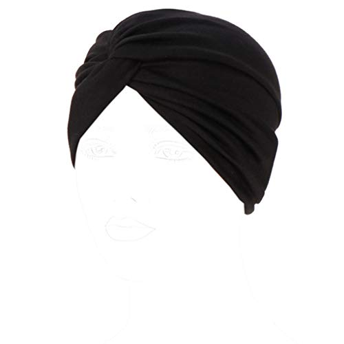(Kofun Women Knot Twist Turban Headband Cap Solid Candy Color Pleated Ruched Stretchy Autumn Winter Warm Indian Chemo Hat Hair Covering Hijab Black)