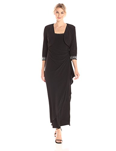 long black evening dress with jacket - 9
