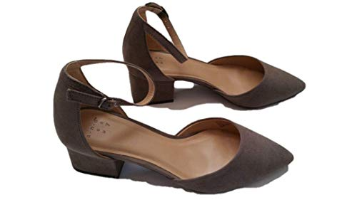 A New Day Women's Natalia Microsuede Pointed Toe Block Heeled Pumps (9.5, Taupe) - New Taupe Pump