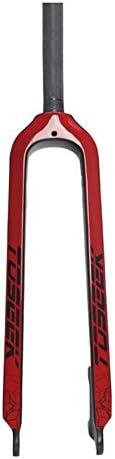 """SN 26""""27.5"""" 29""""自転車用Fixieフロントフォーク、サイクリング用28.6mmフルカーボンファイバー製超軽量ディスクブレーキロードバイク固定ギア(Vブレーキ用)1-1 / 8""""対応 (Color : Red, Size : 29inch)"""