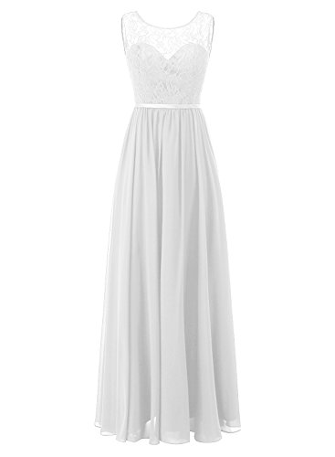 ALAGIRLS Womens Long Chiffon Bridesmaid Dresses See Through Lace Wedding Party Gowns White US26Plus