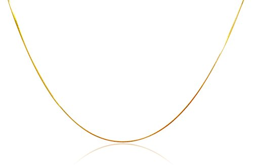 Chelsea Jewelry Basic Collections Italian Designed 1.2mm Wide 18K Gold Square Shaped Snake Chain Necklace (30 ()