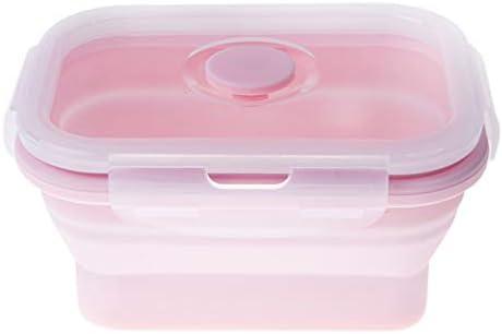 Jsgcf Bento Box siliconen lunchbox 350 ml draagbare opvouwbare bento dozen voedselopslagcontainer BPAvrij Oven magnetronvriezer en vaatwasmachinebestendig