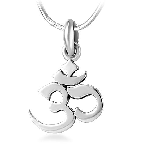 Chuvora 925 Sterling Silver Yoga, Aum, Om, Ohm, Sanskrit Yogi Pendant Necklace, 18 inches