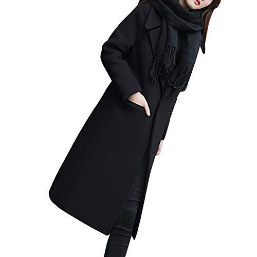 Lined Pinstripe Blazer (Orangeskycn 2018 New Women's Lapel Wool Blend Longline Winter Fall Warm Coat Overcoat)