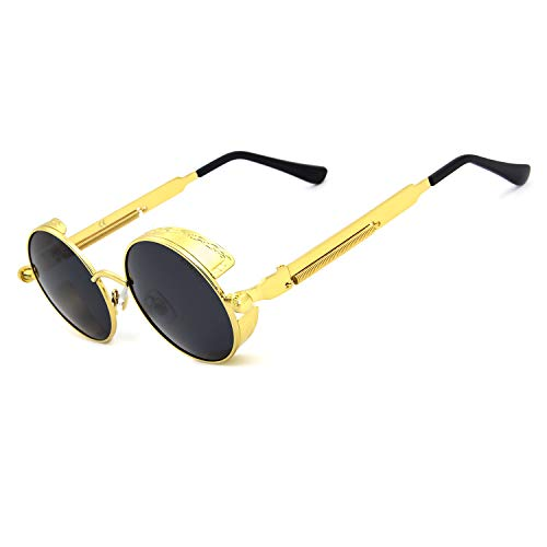 Ronsou Steampunk Style Round Vintage Polarized Sunglasses Retro Eyewear UV400 Protection Matel Frame golden frame/gray lens