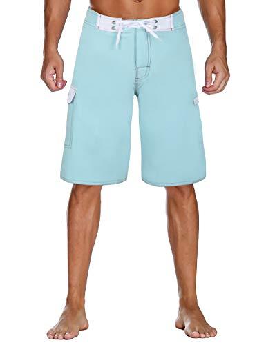 bec538692c2a0 Nonwe Men's Swimming Trunks Quick Dry Summer Vacation Zipper Pocket Trunks  Shorts Blue 42