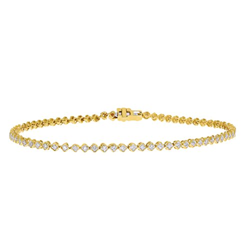 3djewels 0.25 CT Flower Monogram Diamond Womens Tennis Bracelet 14KT Solid Yellow Gold Plated 14kt Bracelets Childrens Jewelry Rings