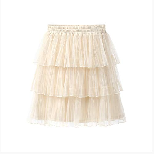 FOXOME - Chiffon Cake Dress Skirt Skirt Skirt Pure Color Short Double-Decker Screen Dress L Apricot Color ()