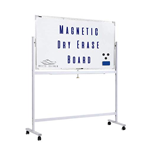 (White Kaiman Dry Erase Magnetic Whiteboard w/Stand - Double Sided Reversible Marker Board, Mobile Stand w/ 4 Locking Wheels - Magnetic Board Includes 1 Marker, Eraser and 3 Magnets (48