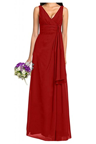 Diseño V-cuello de la Toscana de novia por la noche fiesta de dama de honor vestidos de gasa largo bola Prom vestidos Rojo