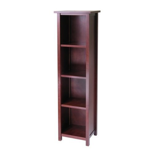 Milan Tall Storage Shelf - Medium Walnut Oak Bookcase