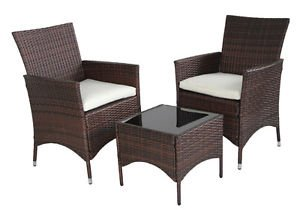 Evre Outdoor Rattan Venice Bistro Set Garden Patio Furniture Set  Conservatory , Brown