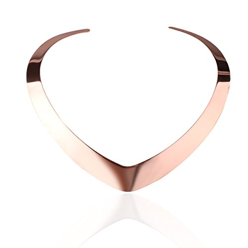 Carfeny Rose Gold Statement Choker Necklace Stainless Steel Classic Heart Shaped End Open Adjustable Vintage Torque Necklaces for Women (Rose Gold)