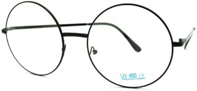 Super Oversized Round Circle Frame Clear Lens Glasses
